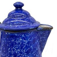Antique Cobalt Blue and White Enameled Swirl Coffee Pot Elite
