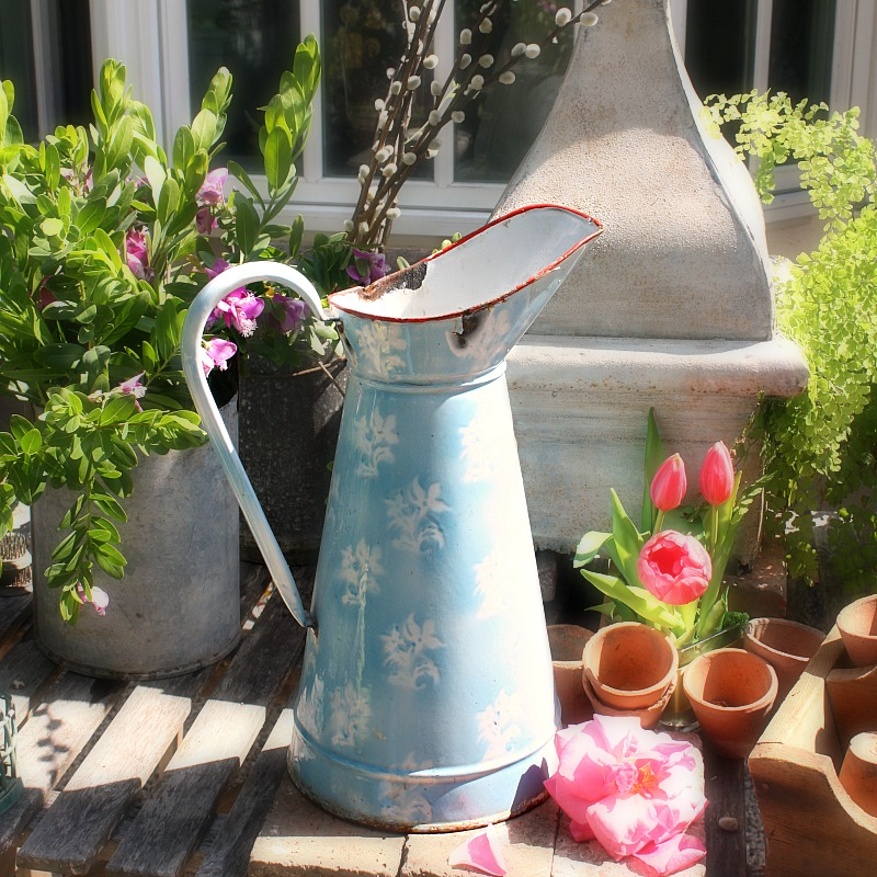 Antique Shabby Blue and White Floral Body Pitcher