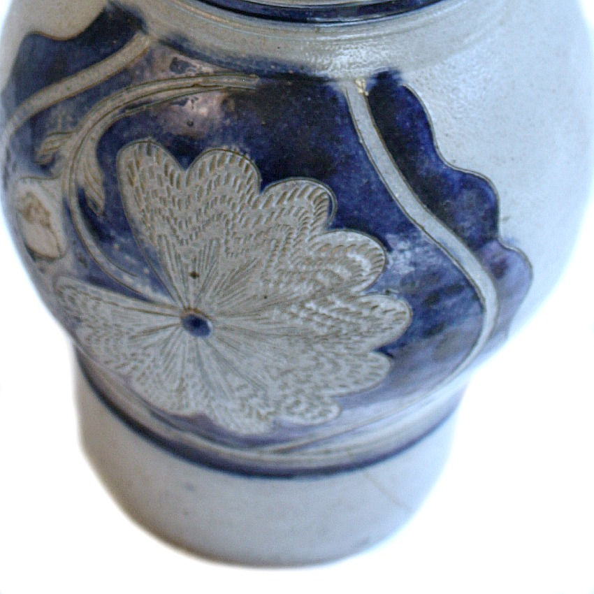 French Country Hand Painted Blue Floral Pitcher