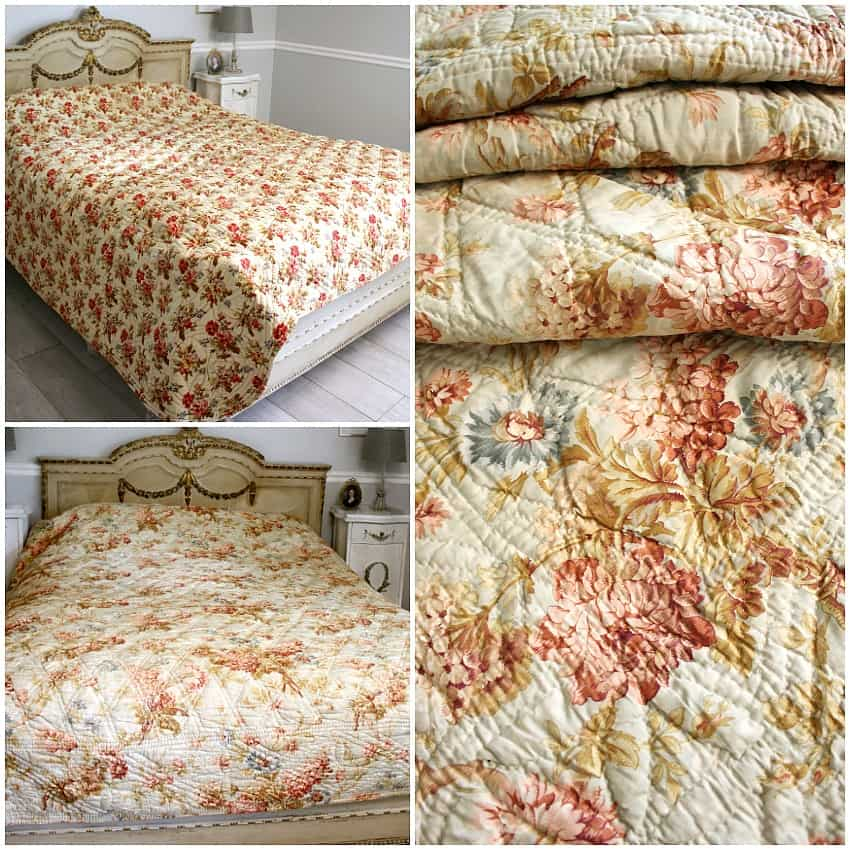 Antique French Provincial Quilt Boutis Pique