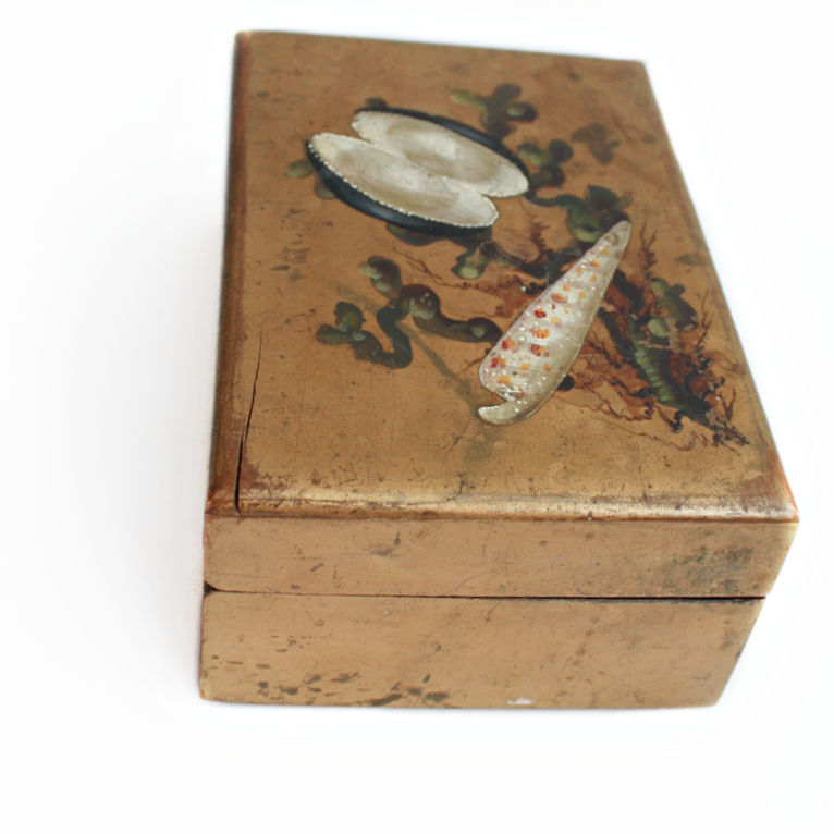Antique French Hand Painted Gold Box with Shells