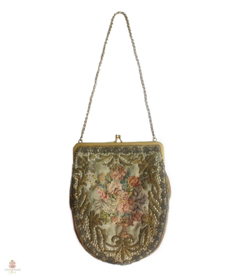 Antique French Petit Point Gold Bullion Bag