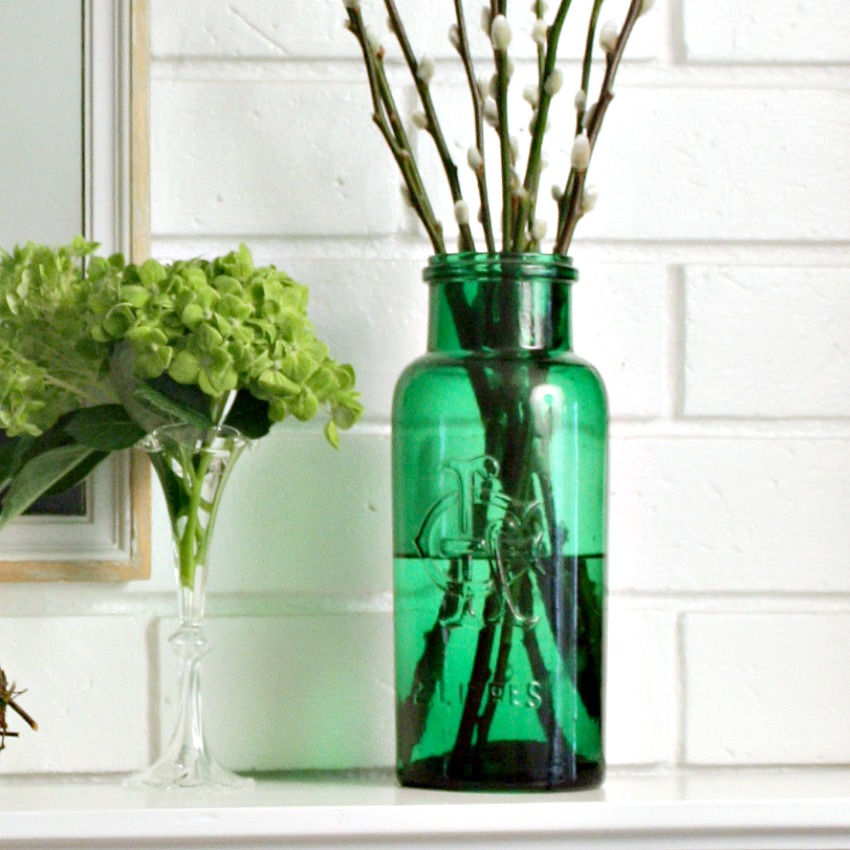 Antique French Green Apothecary Glass Jar