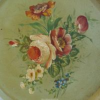 Antique French Tole Painted Tray Green Floral
