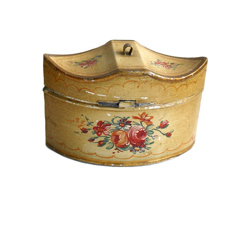 Antique French Hand Painted Mustard Yellow Tole Box