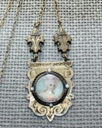 Antique French Hand Painted Portrait Necklace