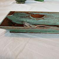 Hand Made Country Knife Box Caddy Light Green Paint
