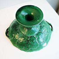 19th Century Antique Majolica Large Footed Compote