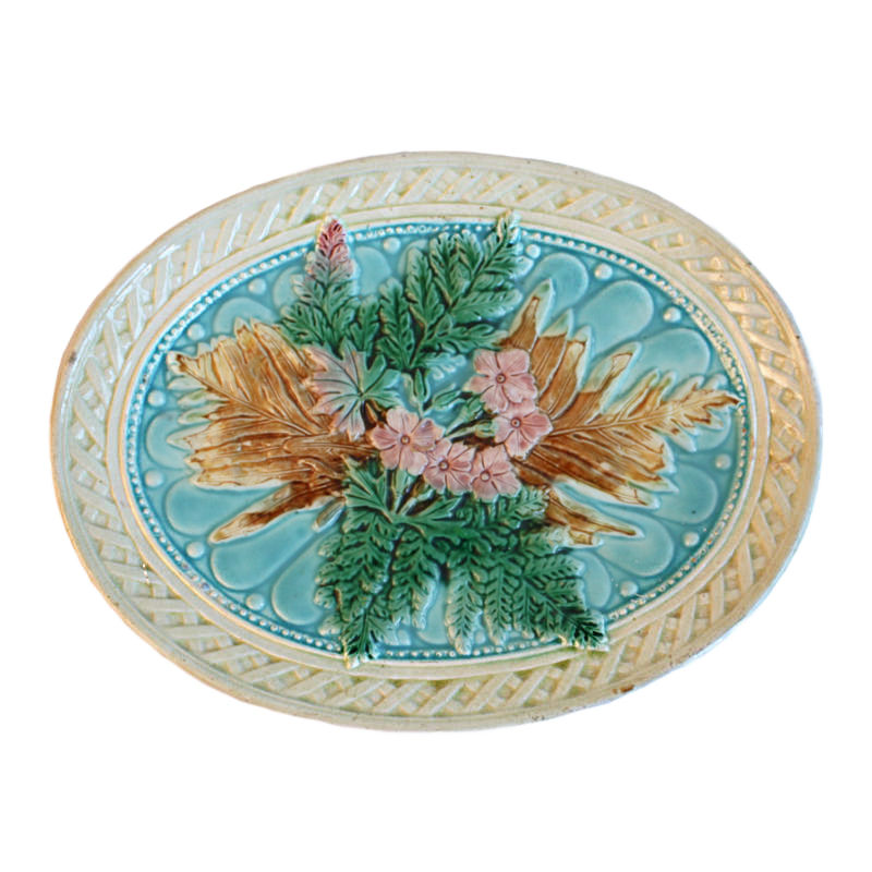 Antique Majolica Pink Flowers & Ferns Platter