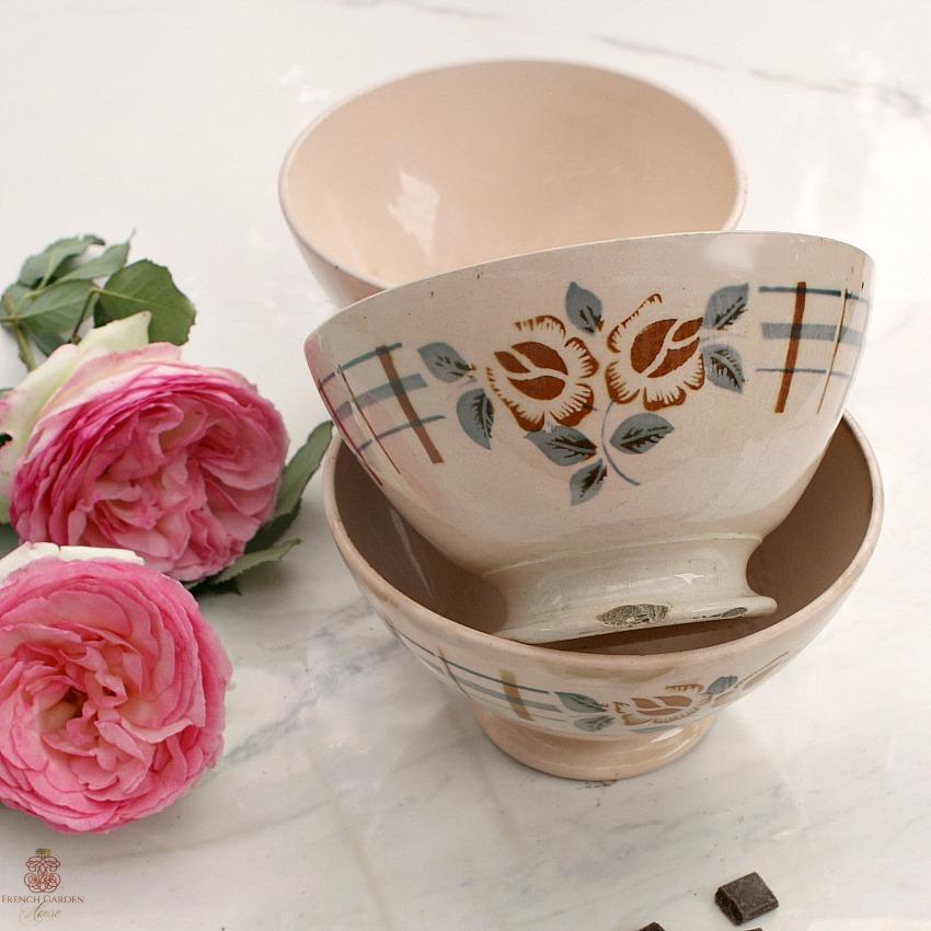 Antique French Cafe au Lait Bols Set of 3 Dusty Rose