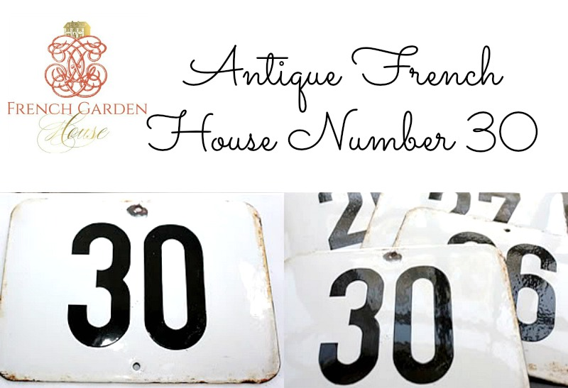 Antique French Enamel House Number 30