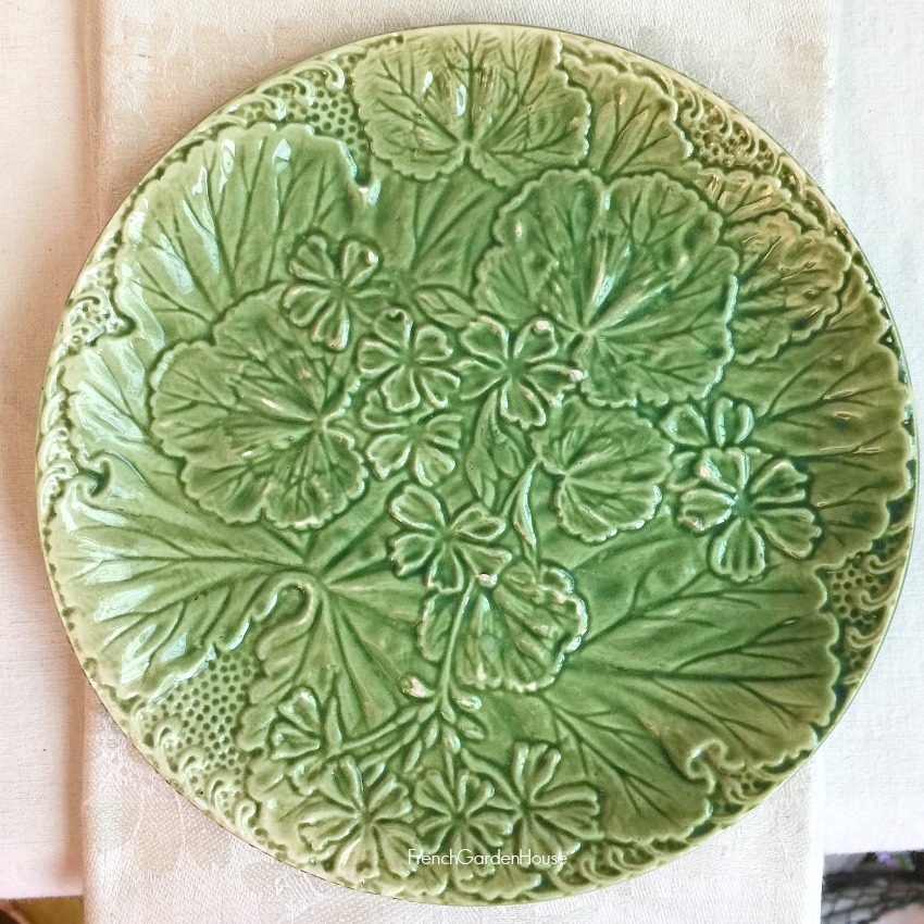 Antique French Leaf Majolica Plate Geranium Light