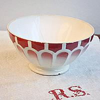 Antique French Cafe au Lait Bowl Red Large