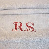 Antique French Country Hand Woven Towel R S Monogram
