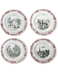 4 19th Century French LES SPORTS Creil & Montereau Zeppelin Plates