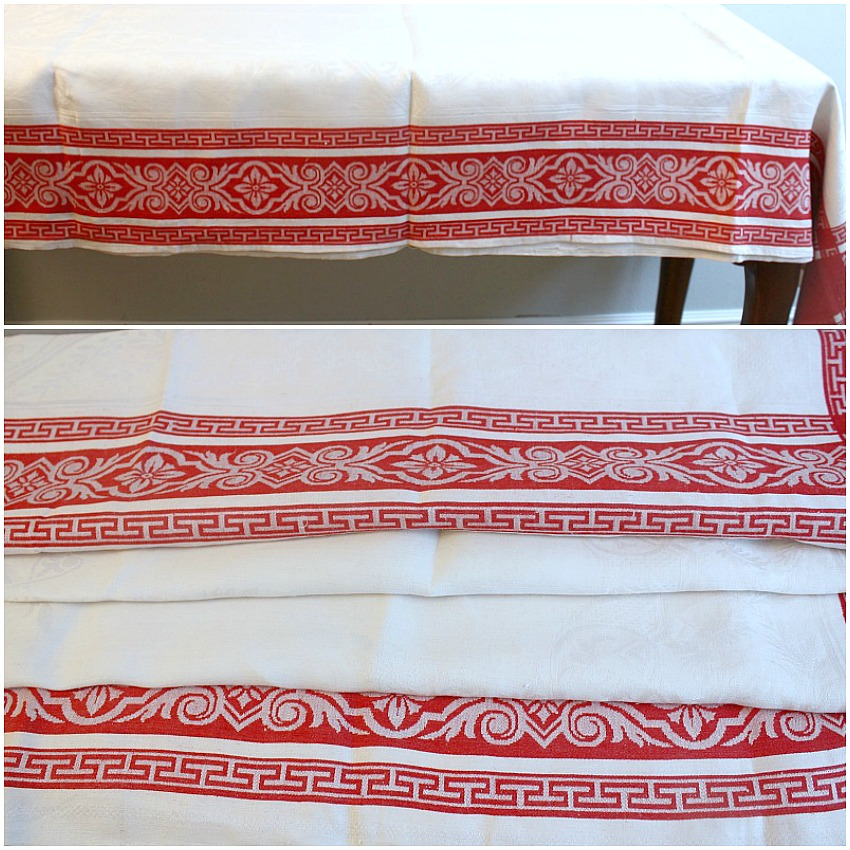 Antique French Red & White Damask Linen Tablecloth