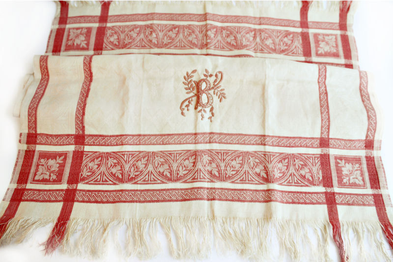 Antique Hand Embroidered Red Work Show Towel B Monogram