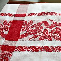 Antique French Red & White Rose Damask Monogrammed Tablecloth