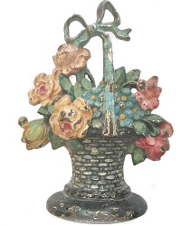 Hubley Cast Iron Basket with Bow & Flowers Doorstop