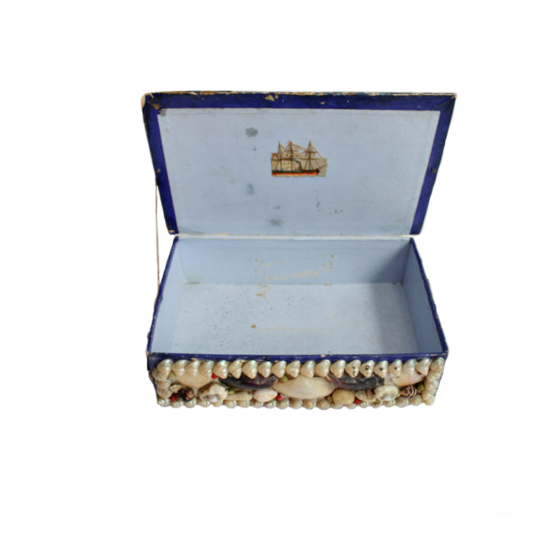 Antique French Shell Work Souvenir Box