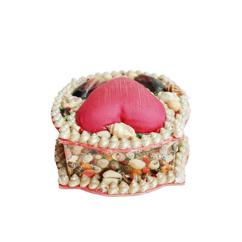 French Sea Shell Art Work Sewing Box Pink Silk Heart