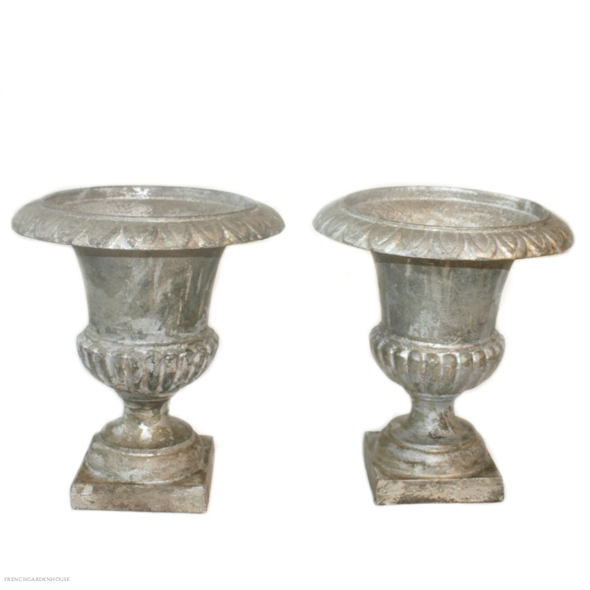 19th Century Pair of French Cast Iron Medici Urns