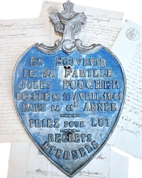 Rare Large French Memorial Burial Plaque Heart Shield & Cross