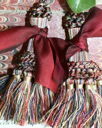 Parisian Atelier Vintage Tassel Curtain Tie Backs Merlot Silk