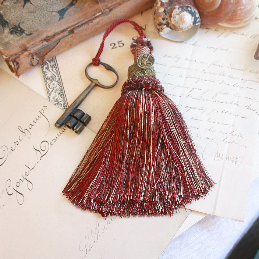 Vintage Buillon Tassel with Bird Button and Antique Key Red