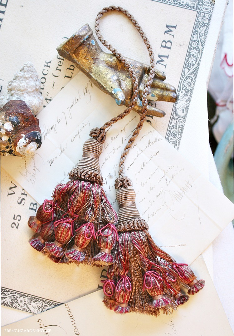 Antique French Raspberry Tasseled Tie Back