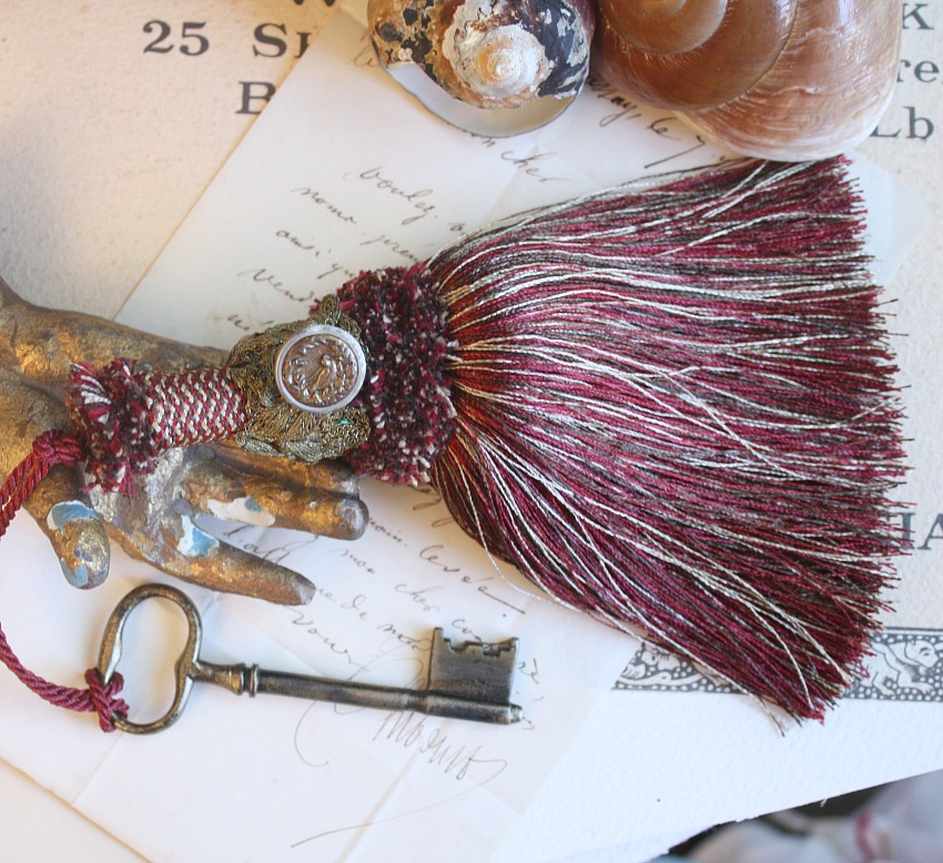 Vintage Buillon Tassel with Bird Button and Antique Key 1