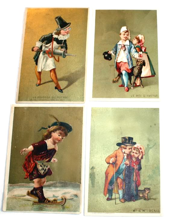 Antique French Gilded Trade Cards Children Set of 4