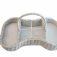 Vintage White Painted Wicker Basket Tray