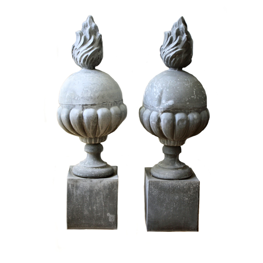 Pair of French Zinc Flame Finials