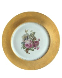 Antique Set of 12 Thick Gold Embossed Dinner Plates