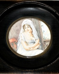 Antique French Signed Hand Painted Portrait Miniature Beautiful Young Woman