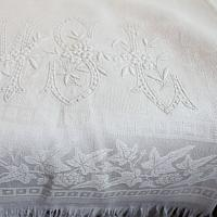 Exceptional Antique French Damask Guest Towel Hand Embroidered Monogram