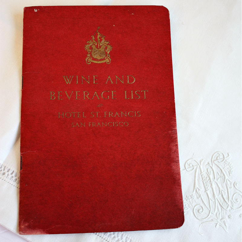 1930's Hotel St. Francis Wine List Booklet