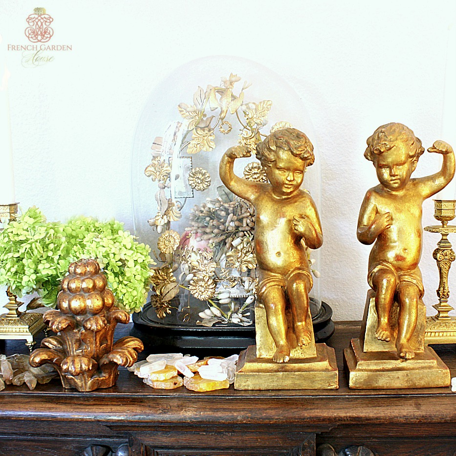 Antique Pair of Hand Carved Gilt Wood Cherub Figures