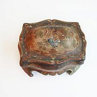 Antique Italian Tole Painted Wood Jewelry Box