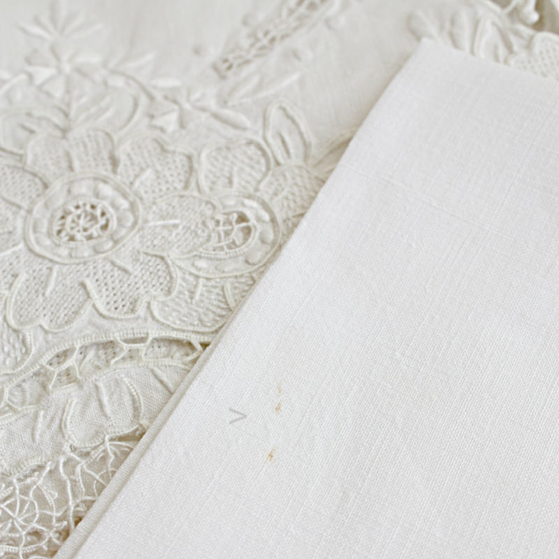 Antique Italian Hand Embroidered Floral Needle Lace Placemat Setting for 6 and Runner