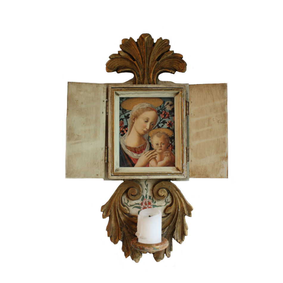 Italian Hand Painted Devotional Altar and Frame