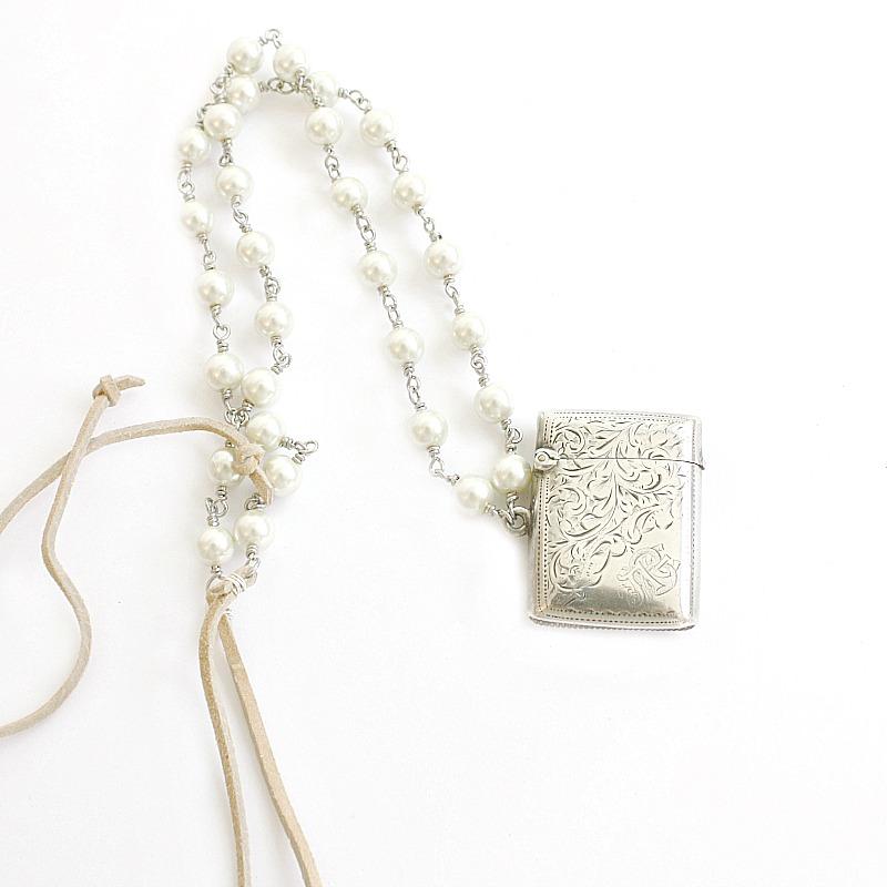 Antique Sterling English Vesta Necklace