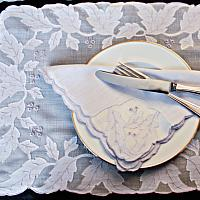 Soft Periwinkle Blue Vintage Madeira Embroidery Placemat Set- Setting for 6