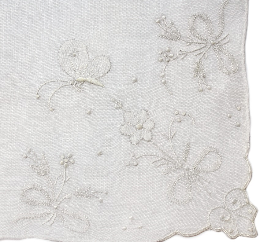 Vintage Hand Embroidered Madeira Linen Handkerchief Butterfly