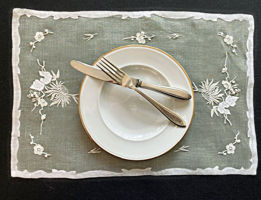 Vintage Hand Embroidered Madeira Lemon Organdy Place Setting for 8