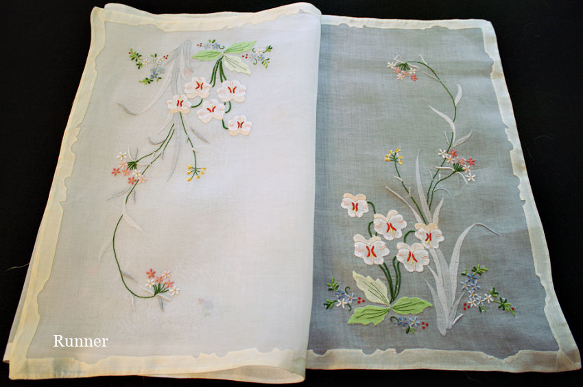 Pansies Vintage Madeira Linen & Organdy 17pc Placemat Setting for 8