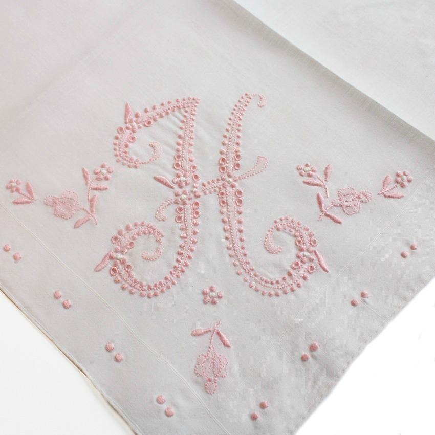 Vintage Hand Embroidered Madeira Handkerchief Pink H