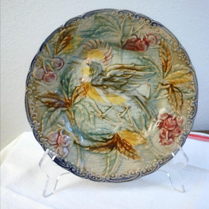 Antique Majolica Plate Bird of Paradise