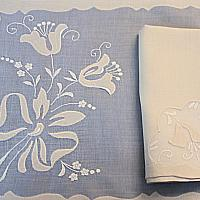 Bows and Tulips Vintage Madeira Organdy 8pc Placemat Setting for 4